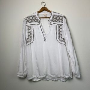 Sundance Embroidered BOHO White Blouse L
